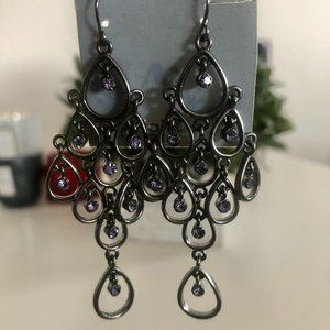 Beautiful Dangle Earrings with Purple Rhinestones